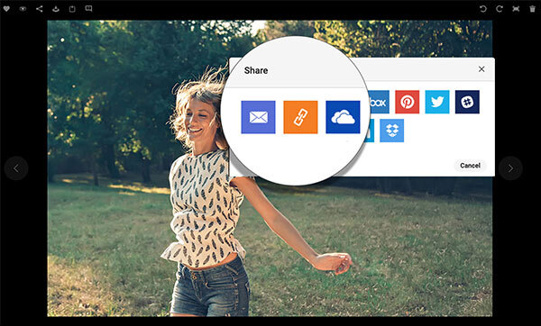 Image showing the OneDrive icon among the other tool icons for sharing content from Canto.