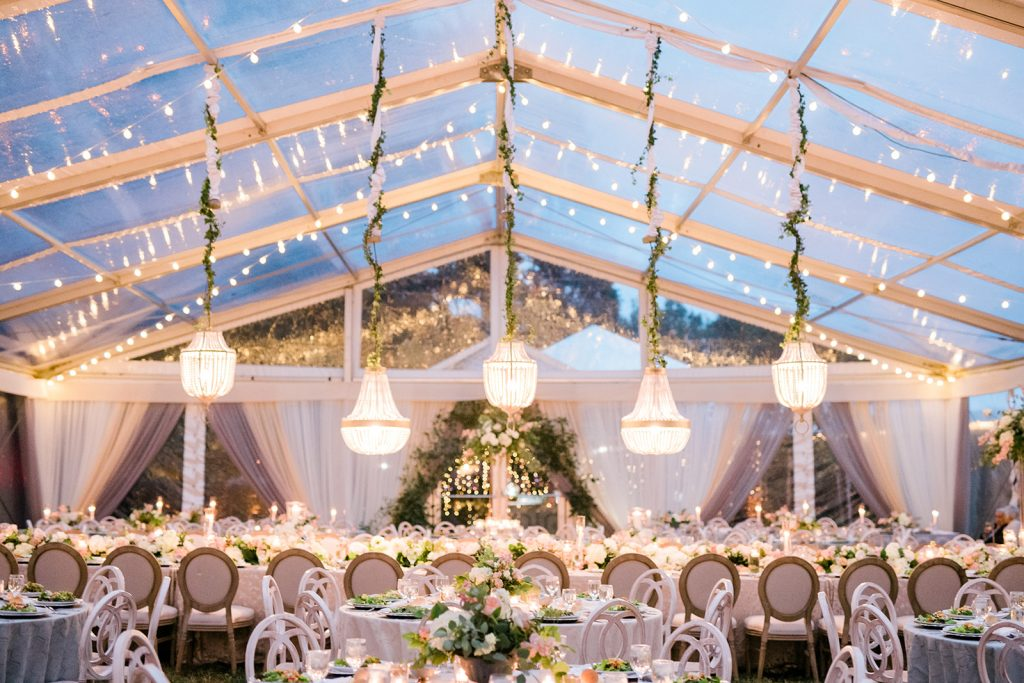 A festive tent for a wedding celebration.