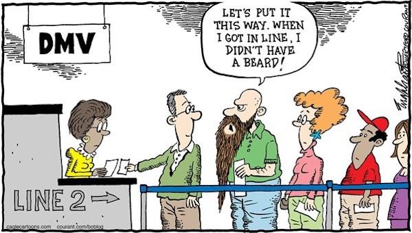 Eine Karikatur über die Wartezeiten bei der Kfz-Zulassungsstelle.