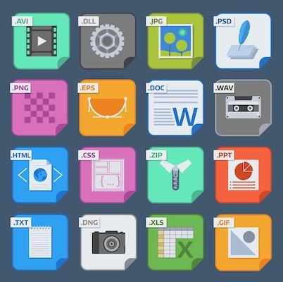 Eine Gruppe von verschiedenen Dateisymbolen, von denen einige mit dem Media Encoder konvertiert werden können.