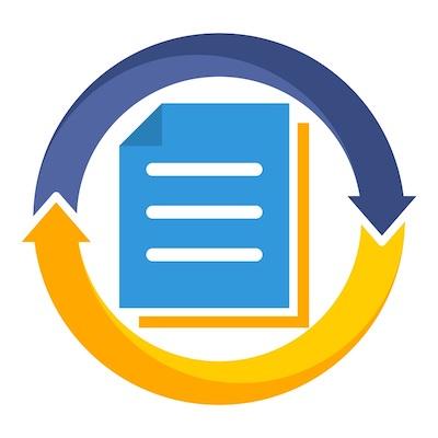 Abbildung der Umwandlung eines Dokuments, durch Pfeile symbolisiert.