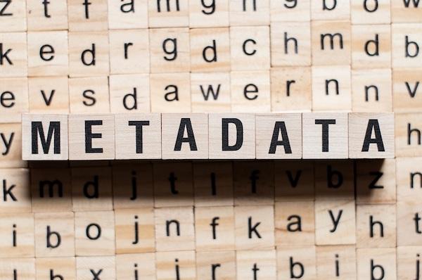 Holzklötze bilden das Wort 'Metadaten', die sich in verschiedene Metadatentypen einteilen lassen.