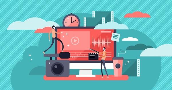Eine Darstellung von Videosequenzen auf einem Computer.