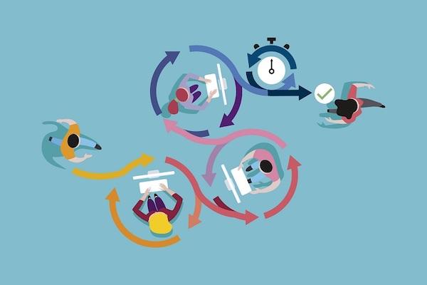 Darstellung eines Arbeitsablaufs im Animationsstil.