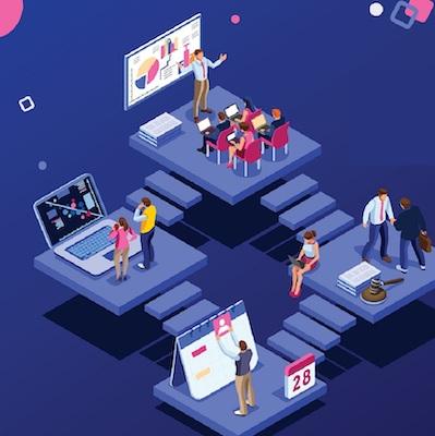 Eine Darstellung der Vernetzung von Aufgaben im Animationsstil.