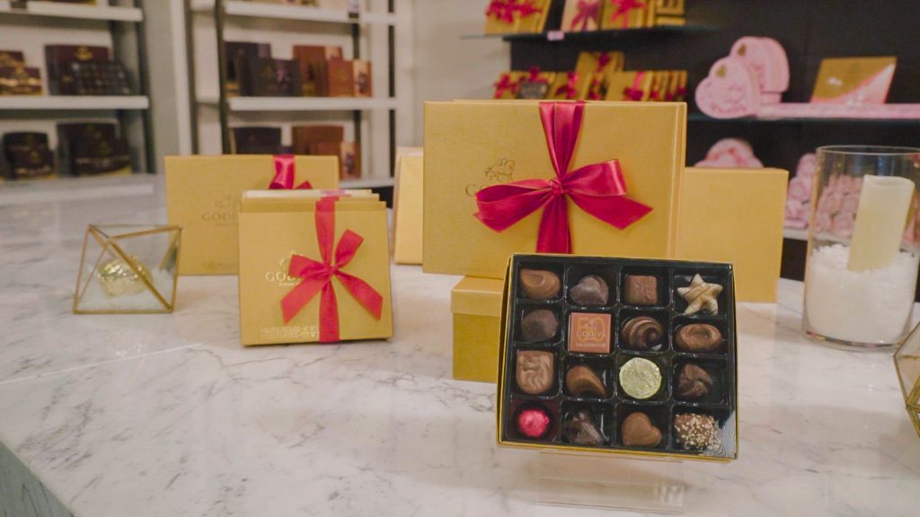Chocolates in designed boxes.