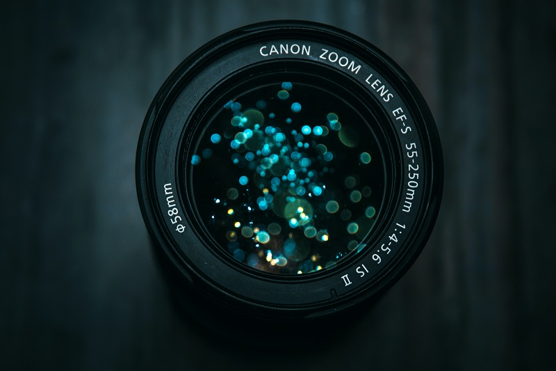 A Canon camera lens.