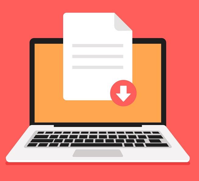A laptop downloading a file.