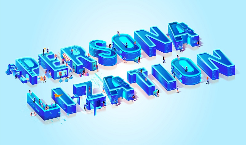 A blue group of letters that spell 'personalization'.