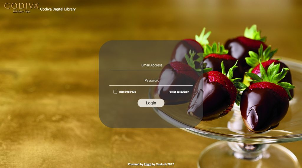 The login screen for the Canto media library of Godiva Chocolatier.