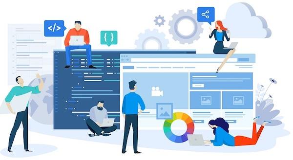 Mitarbeiter diskutieren digitale Bildschirme in einem Arbeitsablauf.