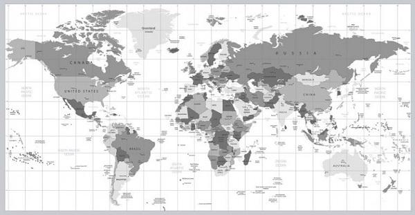 Eine Graustufenabbildung der Weltkarte.