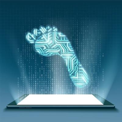 Ein digitaler Fußabdruck, der über einem Mobilgerät schwebt.