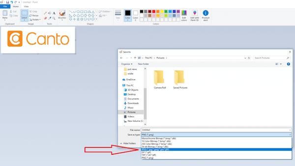 Ein Screenshot zeigt, wie man mit einem Computer unter Einsatz von Paint Dateien wie PNG in JPG konvertieren kann.