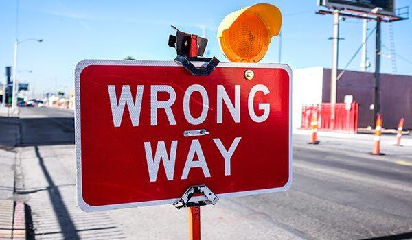 A 'wrong way' sign.