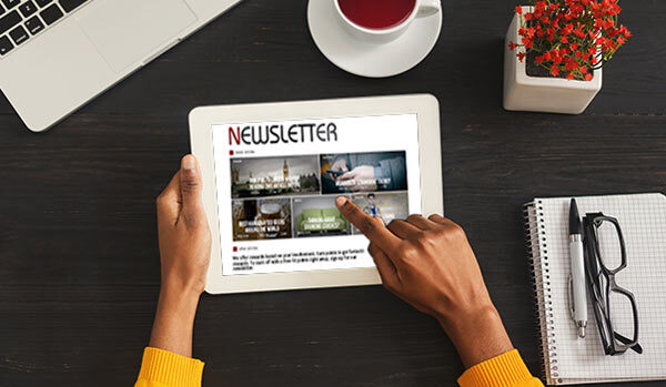A newsletter on a tablet.