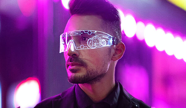 A futuristic pair of glasses on a person.