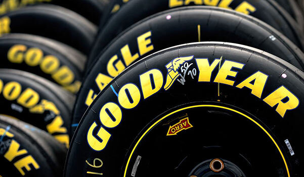 Goodyear tires in a row.