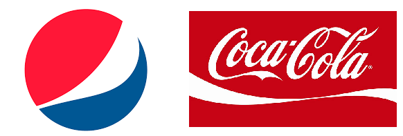 The Pepsi and Coke logos.