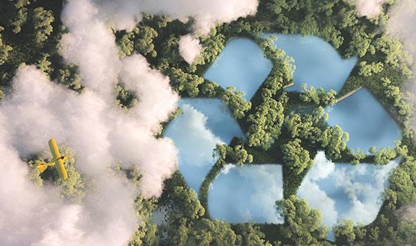Ein Flugzeug überfliegt das Recycling-Zeichen.