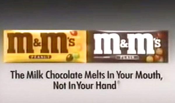 Eine Werbeanzeige von M&M's, einem Musterbeispiel für gutes Brand Management.