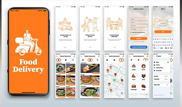 Eine Smartphone-App für einen Lebensmittellieferdienst.