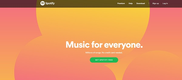 Die Webseite von Spotify.
