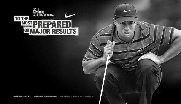 Eine Abbildung des Golfprofis Tiger Woods, als Beispiel für die Markenassoziation mit Nike.
