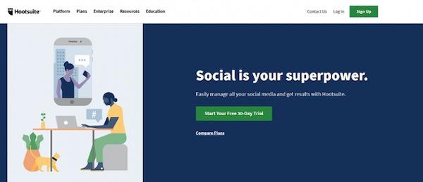 Die Webseite von Hootsuite.