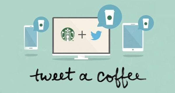 Eine Anzeige der Kampagne 'Tweet a coffee'.