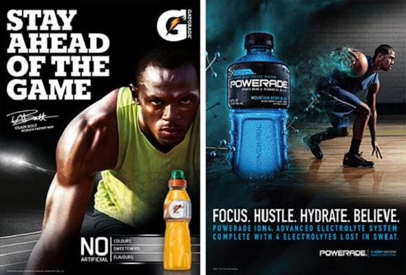 Zwei Webeanzeigen für Gatorade und Powerade nebeneinander, zwei Beispiele für ein aussagekräftiges Markenimage.