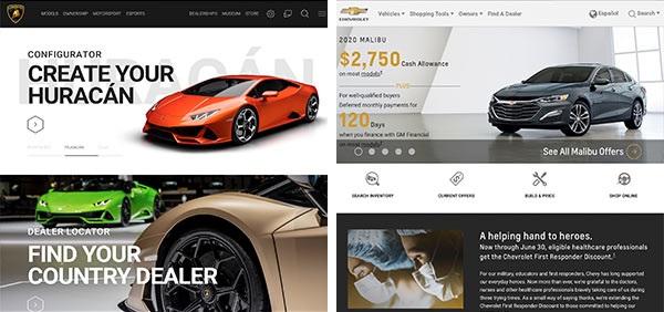 Die Webseiten von Lamborghini und Chevy im direkten Vergleich, als Beispiele für das Markenimage