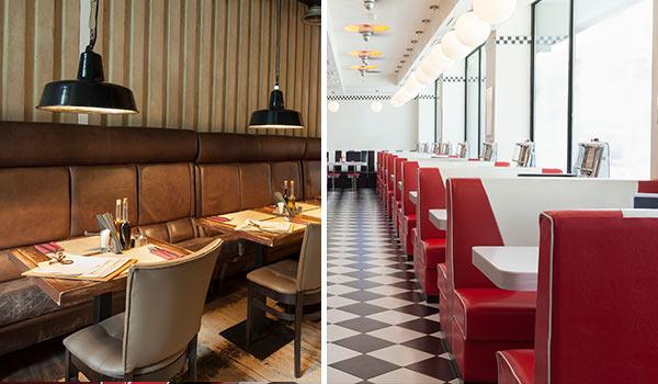 Zwei Bilder von Restaurants nebeneinander.