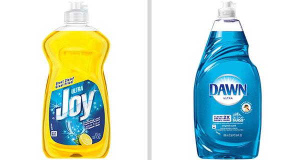 Die Geschirrspülmittelmarken Joy und Dawn nebeneinander, als Beispiel für effektives Produkt-Branding.