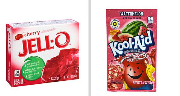 Kartons der Marken 'JELL-O' und 'Kool-Aid'.