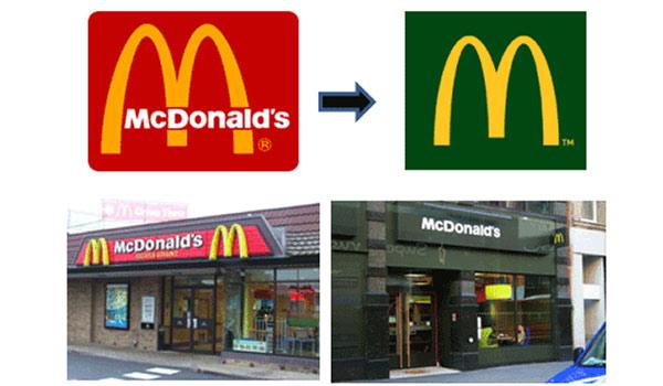 Neu gestaltete Filialen von McDonald's, sichtbares Zeichen für ein Rebranding.