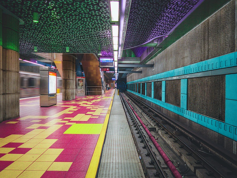 A multi-colored train station.