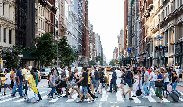 People on a crosswalk.