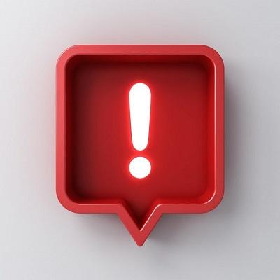 Ein rotes, warnendes Ausrufezeichen in einem Kasten.