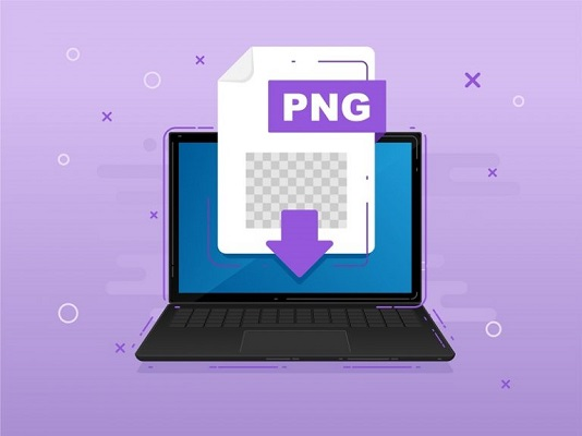 Die Abbildung des Dateisymbols für das PNG-Bildformat auf einem Laptop.