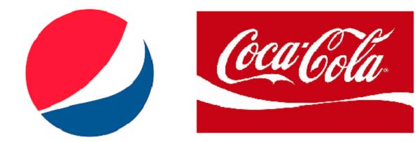 Die Logos von Pepsi und Coca-Cola.