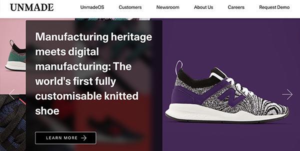 Die Webseite des Unternehmens Unmade.