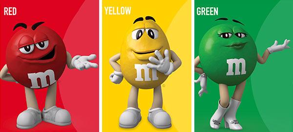 Eine Werbung von M&M's mit personifizierten Süßigkeiten.