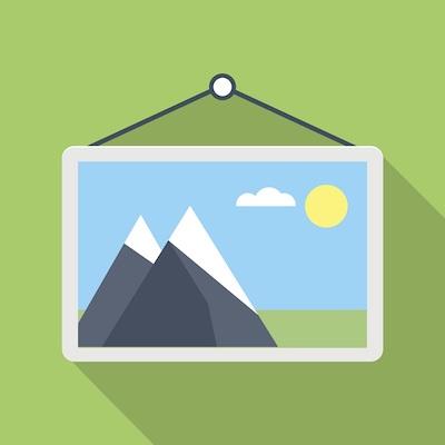 Ein Wandbild, das einen Berg zeigt.