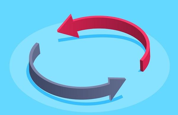 Zwei gebogene Pfeile, die gegenseitig aufeinander zeigen.
