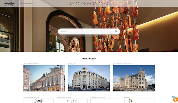 Screenshot of a Canto portal of The Set Hotels.