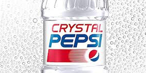 The Crystal Pepsi clear cola product.