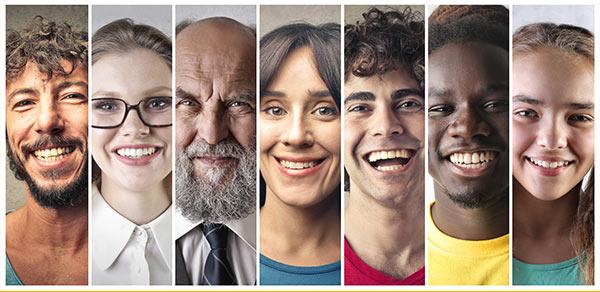 Die Gesichter verschiedener Menschen, symbolisch dafür, dass demografische Daten für die Brand Value Chain ein Faktor sind.