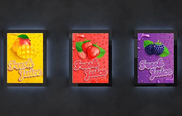 Drei verschiedenfarbige Werbeanzeigen für Saft, die verdeutlichen sollen, wie wichtig Konsistenz für die Brand Value Chain ist.