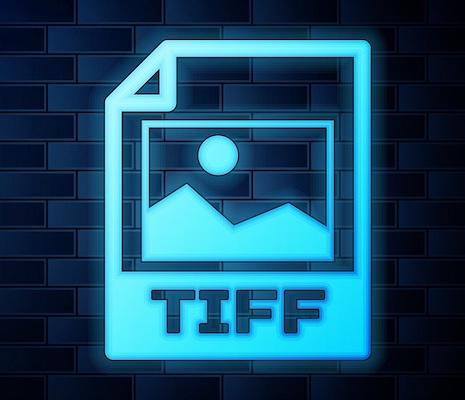 Ein neonfarbenes Dateisymbol für das TIFF-Bildformat.